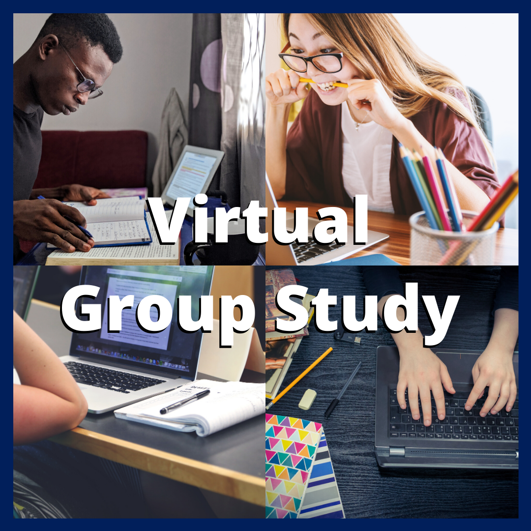 Image of students studying with text that reads virtual group study