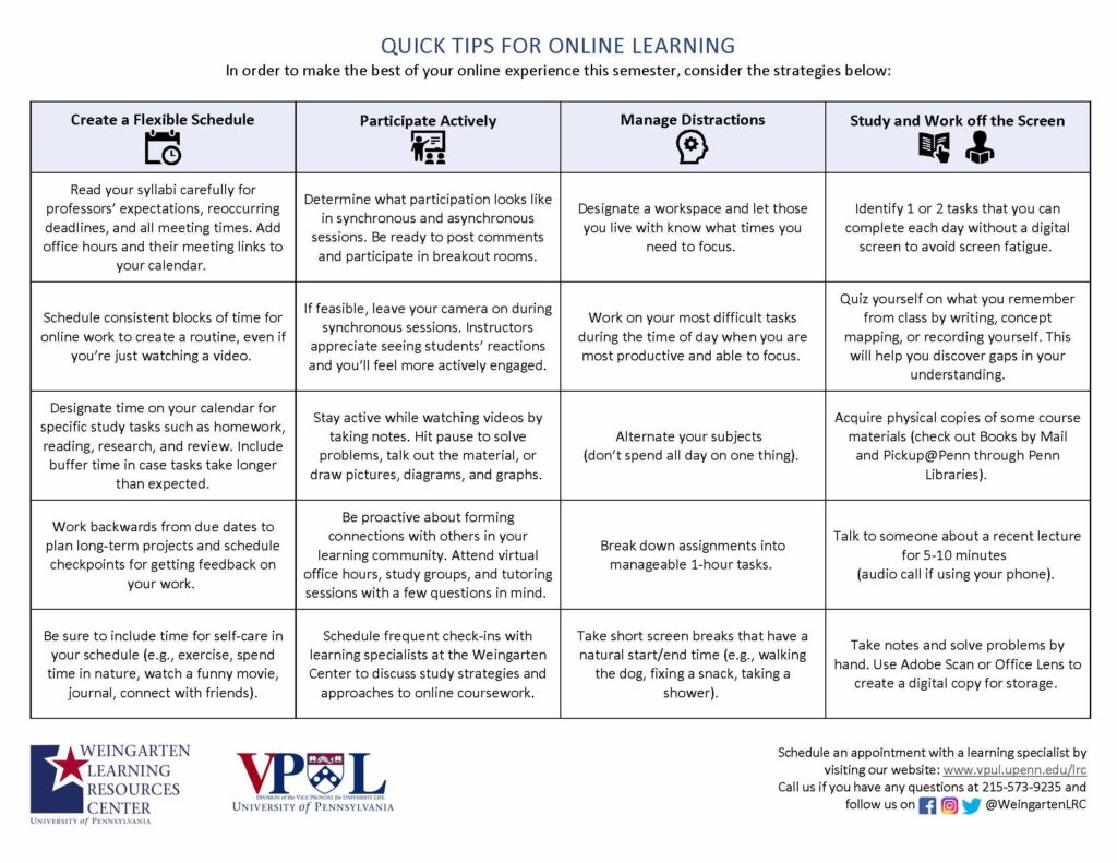 Image of Quick Tips for Online Learning Handout