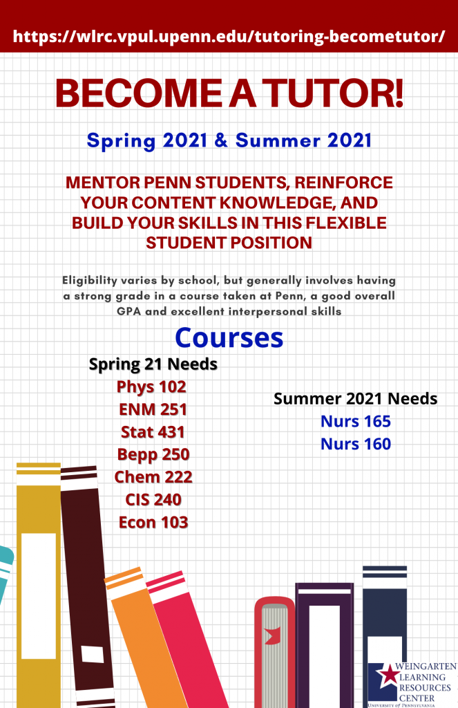 List of courses we are hiring for Spring & Summer 2021