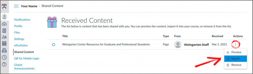 Screenshot from Canvas of Received Content screen