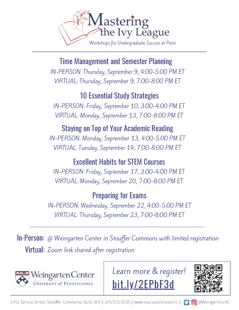 Flyer for Mastering the Ivy League Fall 2021 workshops