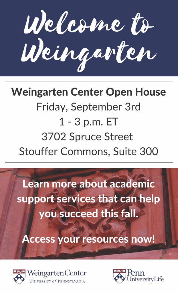 Weingarten Center Open House flyer for event on 9/3 from 1-3 p.m. ET